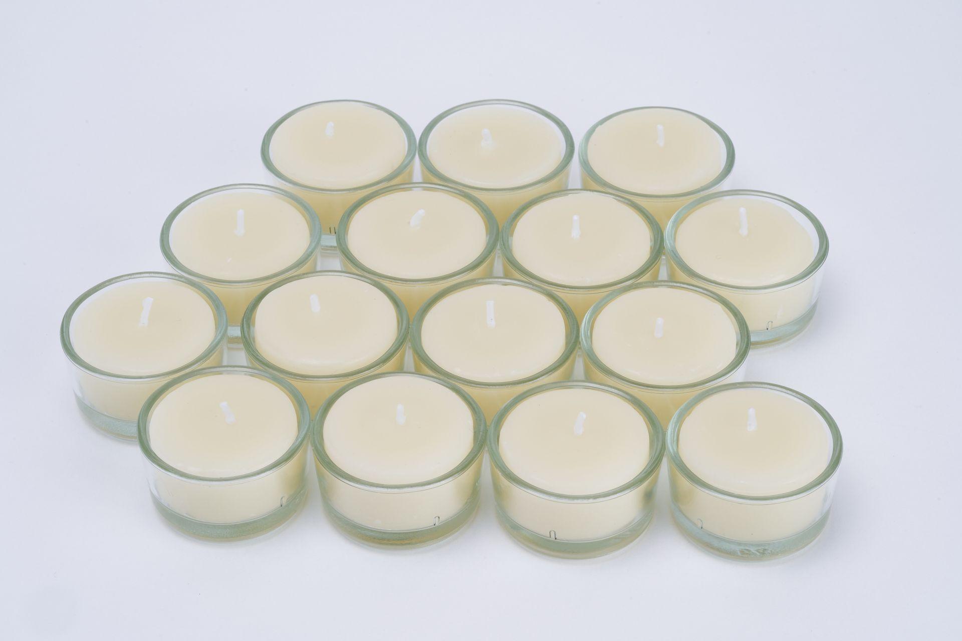 Teelichter aus 100% Bienenwachs - 15 Stk inkl. Teelichtbehälter aus Glas in weiß