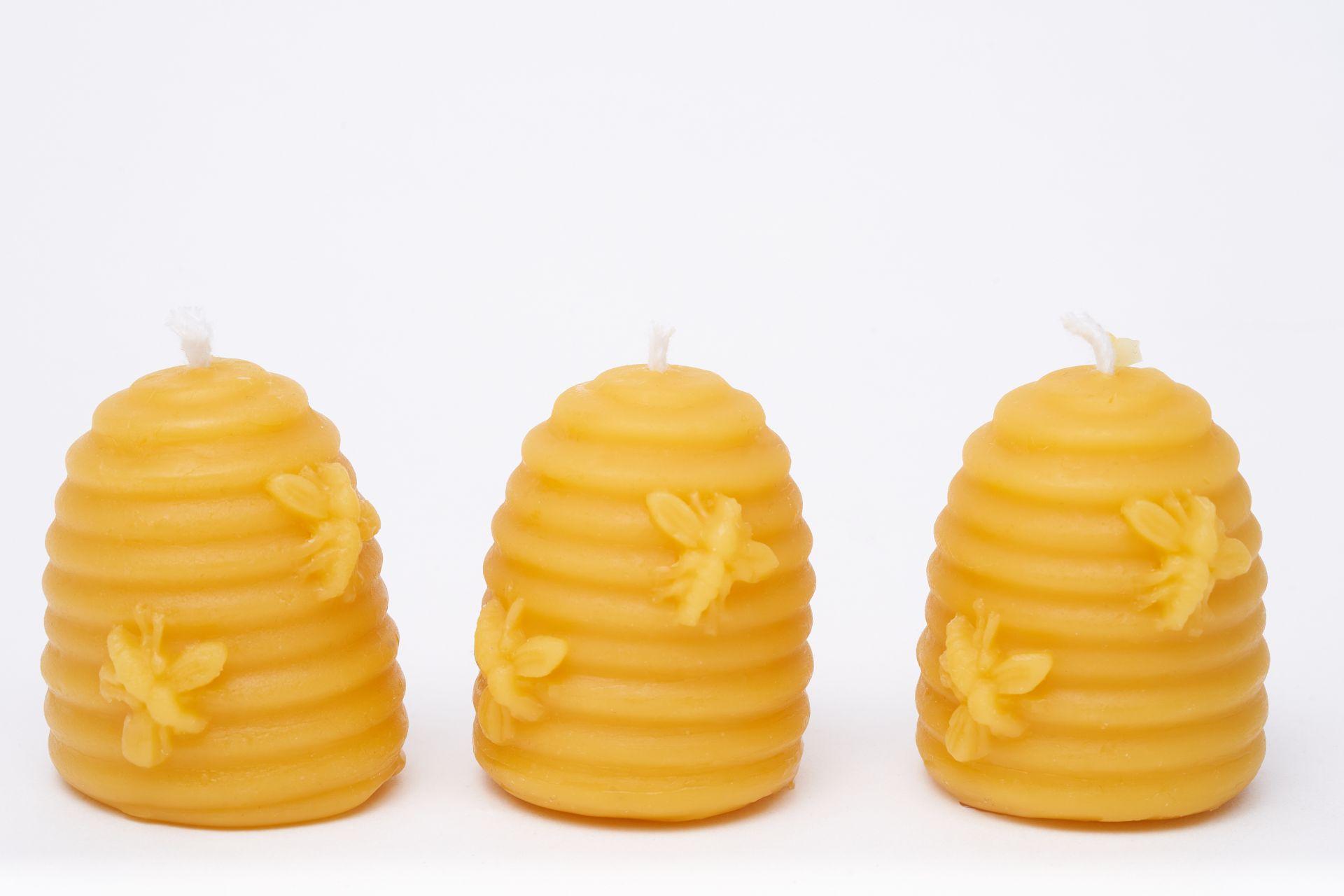 3x Kerze Bienenkorb (Höhe ca. 5cm) aus 100% Bienenwachs vom Imker