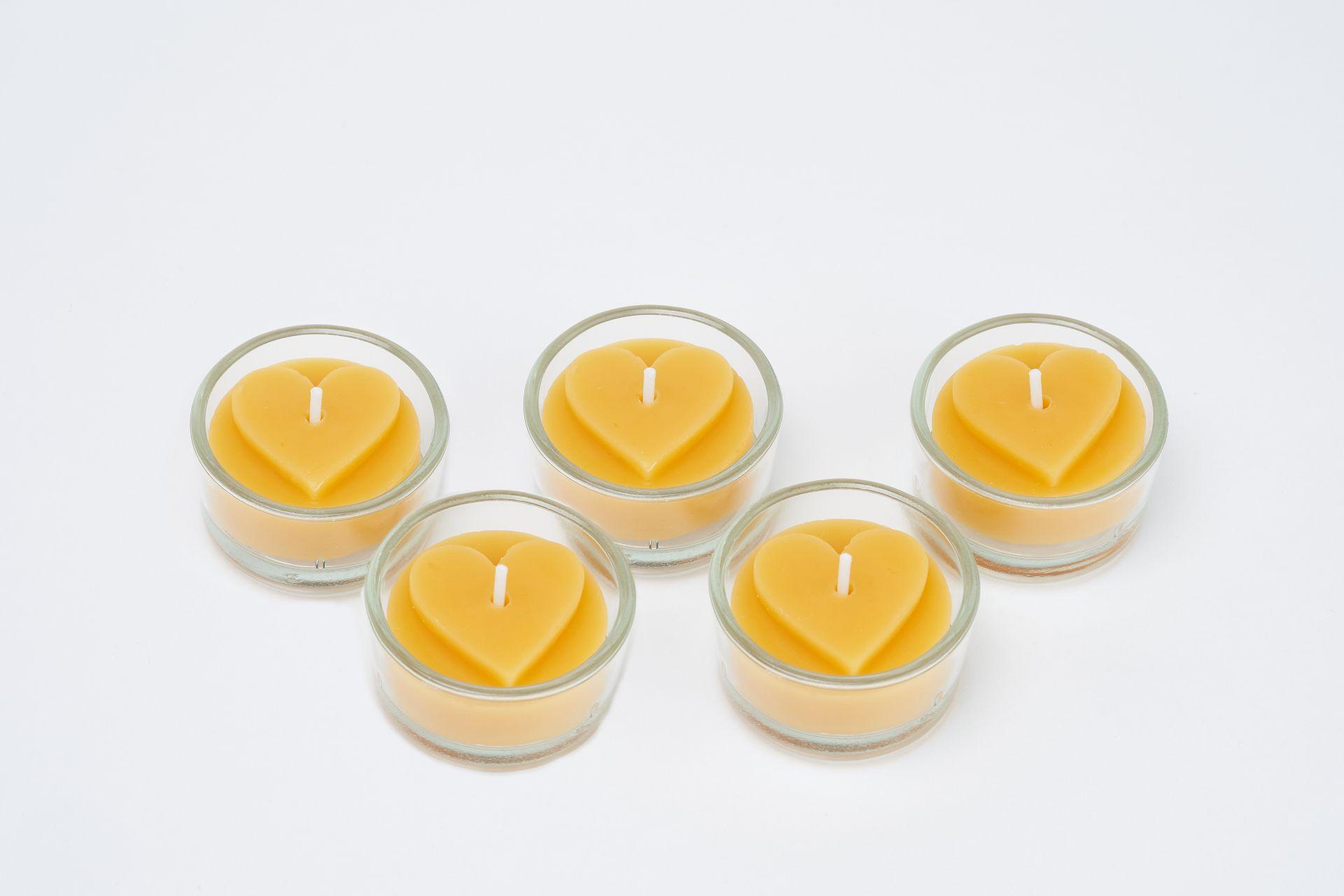 Teelichtset Herz flach 5 Stk inkl. 5 Glasbehälter