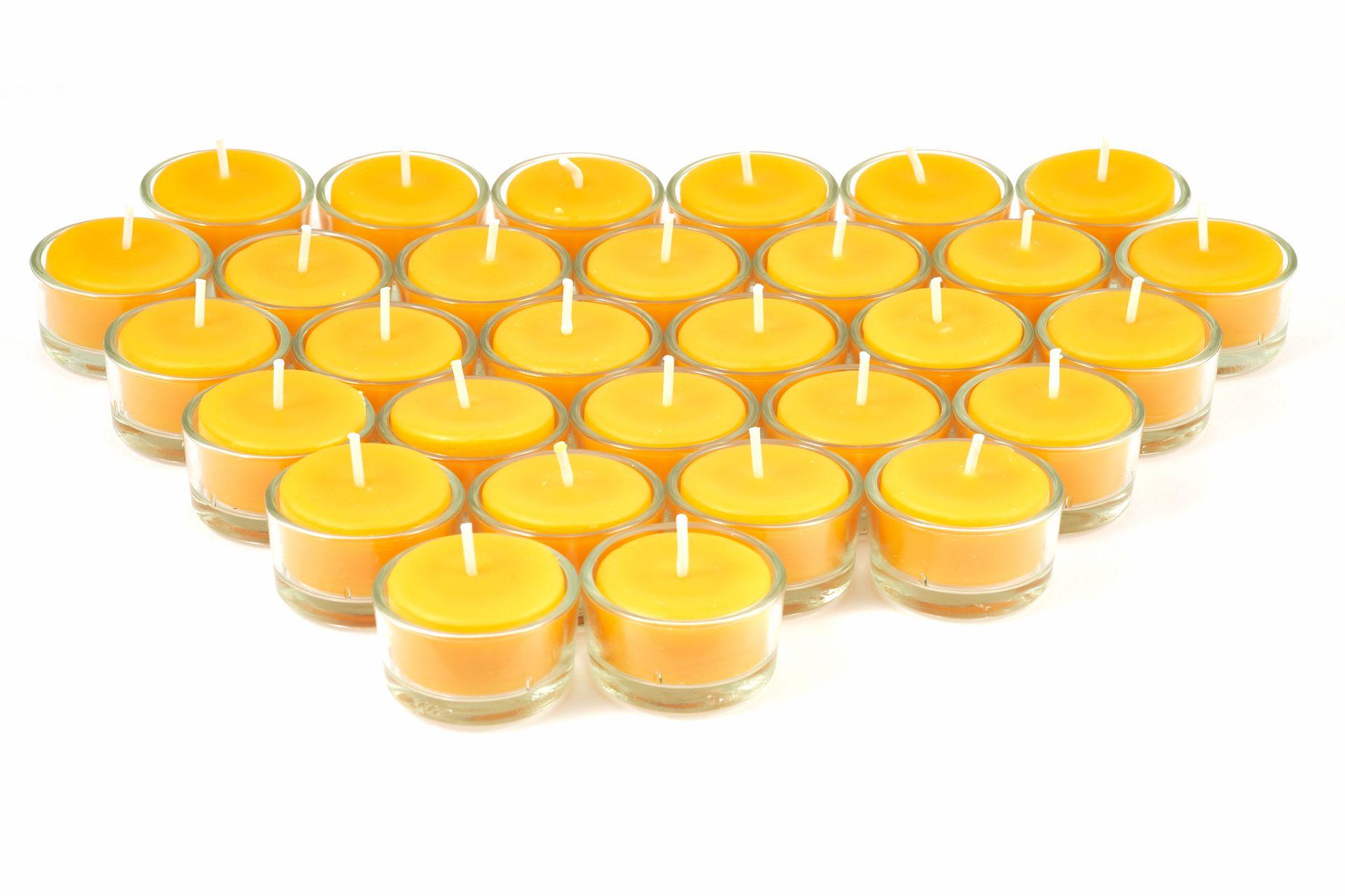 Teelichter aus 100% Bienenwachs inkl. Teelichtbehälter aus Glas  - 30 Stück